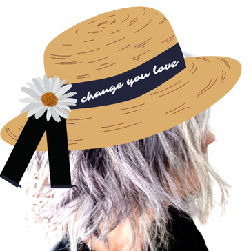 Maya Frost collage with straw hat and ¨change you love¨ written on ribbon.n.
